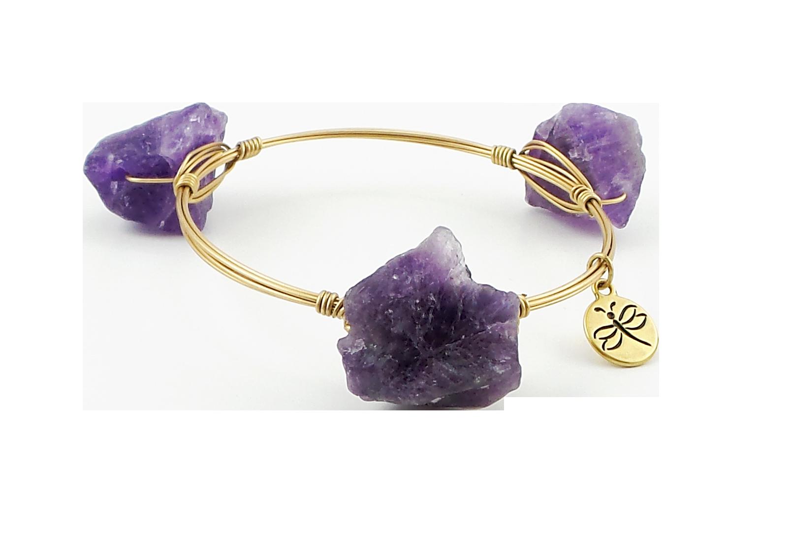 Crystal Wire Bangle Quartz Purple Crystal Stones
