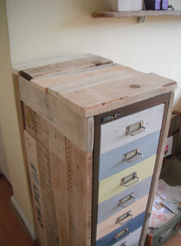 Rustic file cabinet rehab - Metal file cabinet with pallet wood to ...