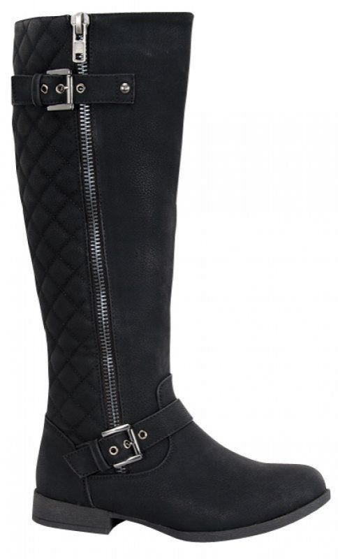 4b295caab79 Step out in this top shop chic style knee high boot with side buckle  decorated. Black  Women  Knee High  Boots