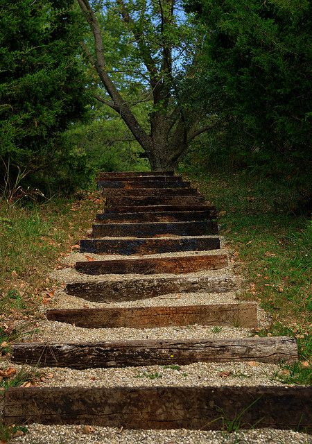 Meet Me At The Top Steps Up A Slope Garden Stairs
