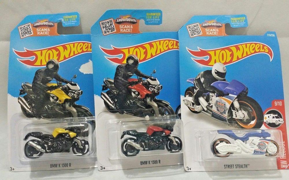 Hot Wheels Die Cast Motorcycle Lot Of 3 Bikes Bmw Street Stealth