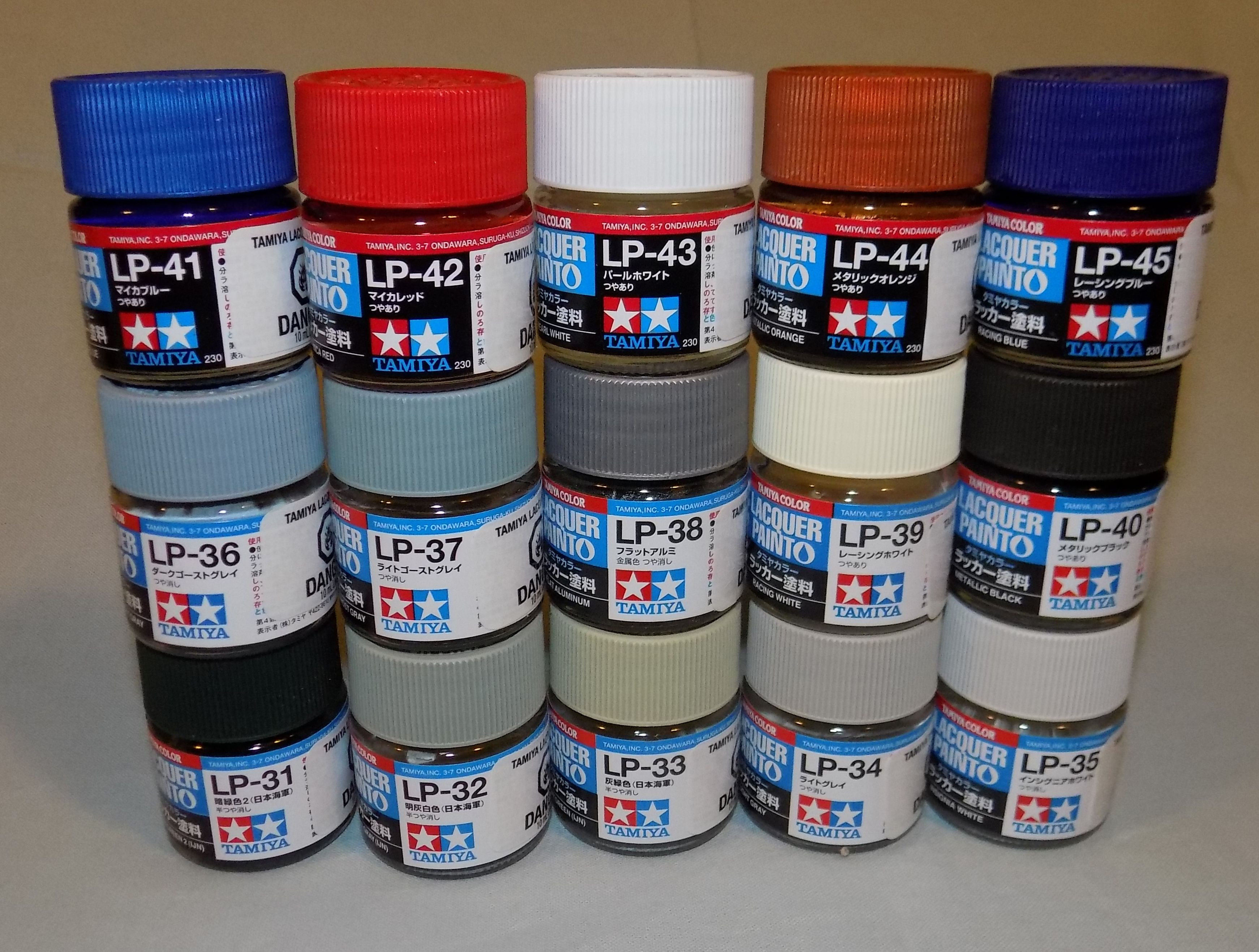 Additional 15 Paints In The Tamiya Lacquer Lineup Lp31 Through Lp45 Lacquer Paint Paint Thinner Tamiya