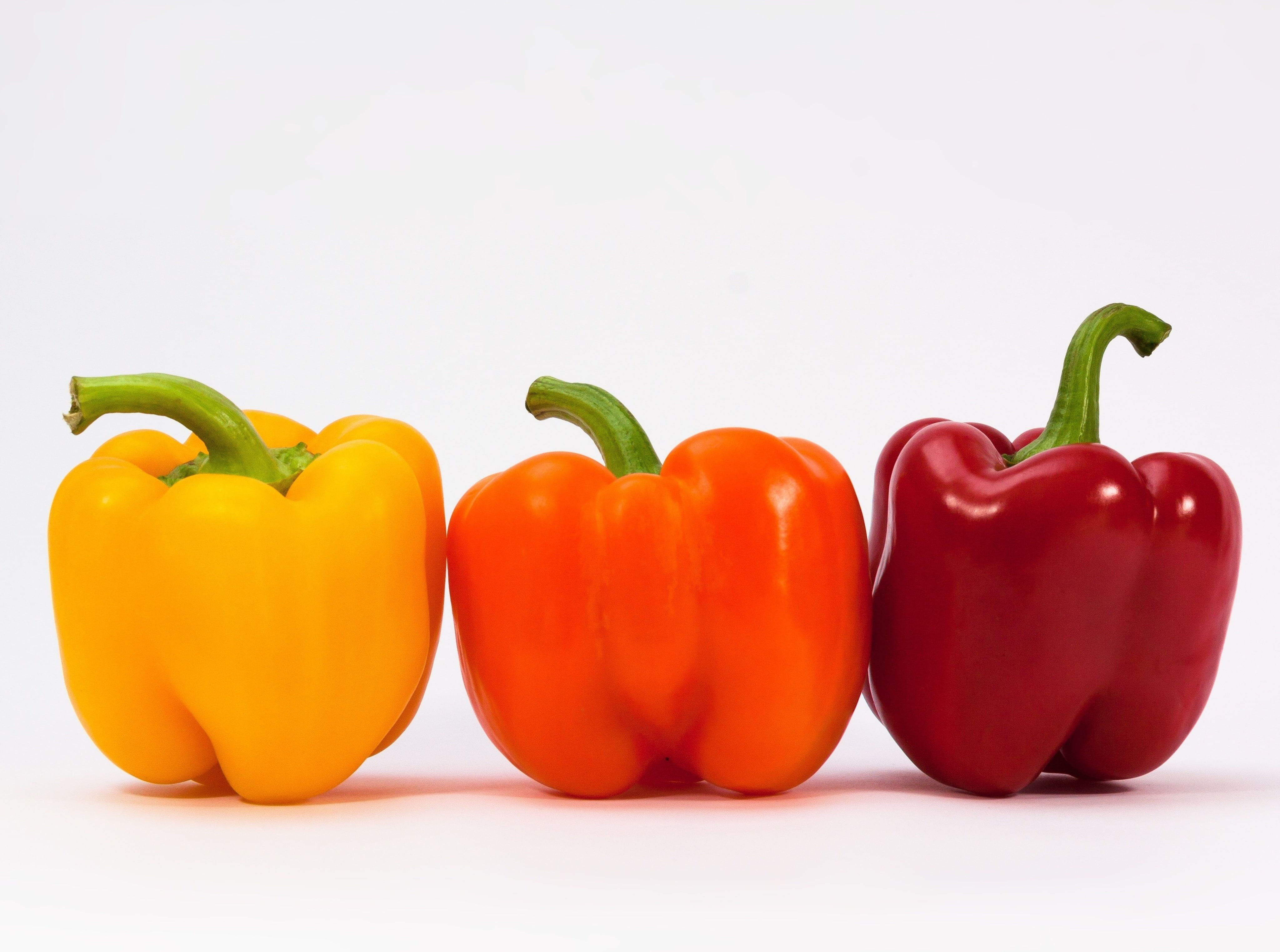 Sweet Peppers, yellow, orange, and red belt peppers Food and Drink #Orange #Yellow #Plant #delicious #Kitchen #Food #healthy #Vegetables #cook #paprika #sweetpeppers #biofood #biovegetables #ingredients #4K #wallpaper #hdwallpaper #desktop