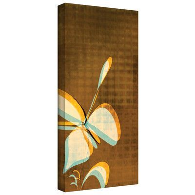 "ArtWall Espresso Floral II' by Jan Weiss Graphic Art on Wrapped Canvas Size: 48"" H x 24"" W"
