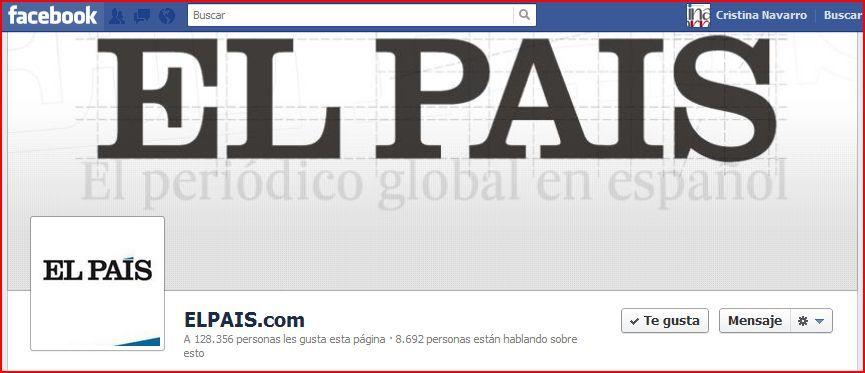 Timeline de #Facebook del diario El Pais