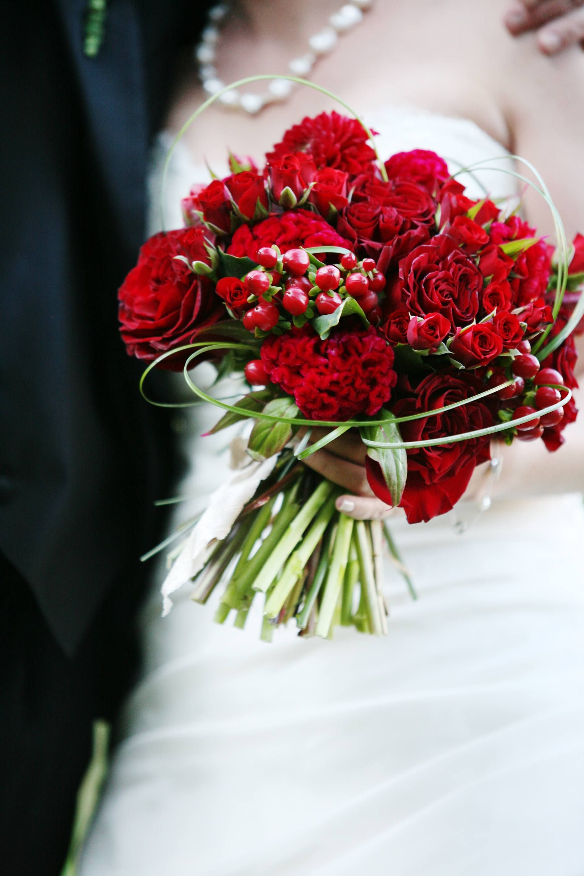 Red Bridal Bouquet. Red garden roses, spray roses, celosia