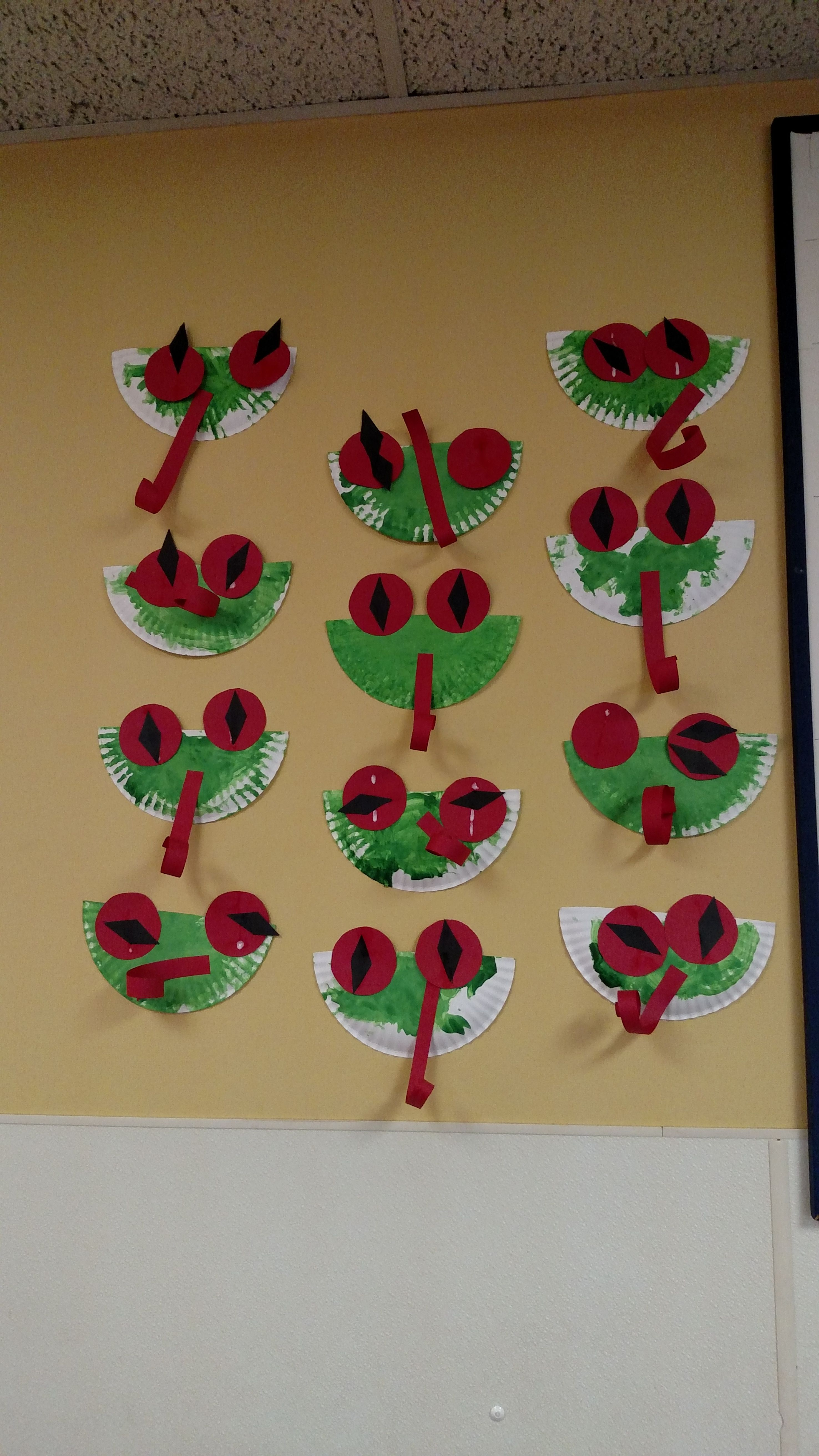 We Made Red Eyed Tree Frogs By Painting Half A Paper Plate