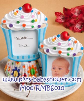 Recuerdos para Baby Shower - Portaretrato Cupcake Azul, Pastelito Azul - Disponible en www.pkts-babyshower.com