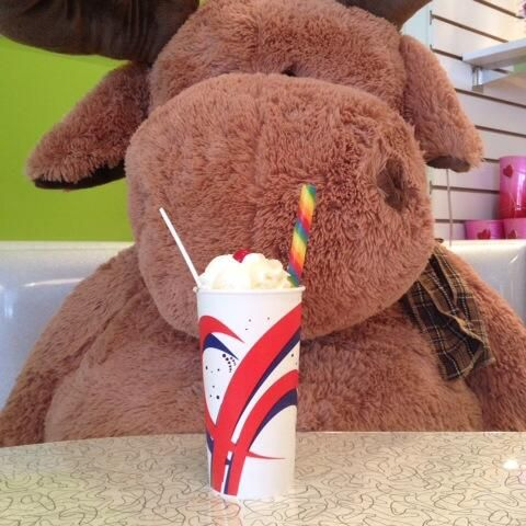 Moose approved shakes at Sweet Ideas on 5th St South! 24 flavours and infinite combos! Chocolate malts too! #DowntownLethbridge