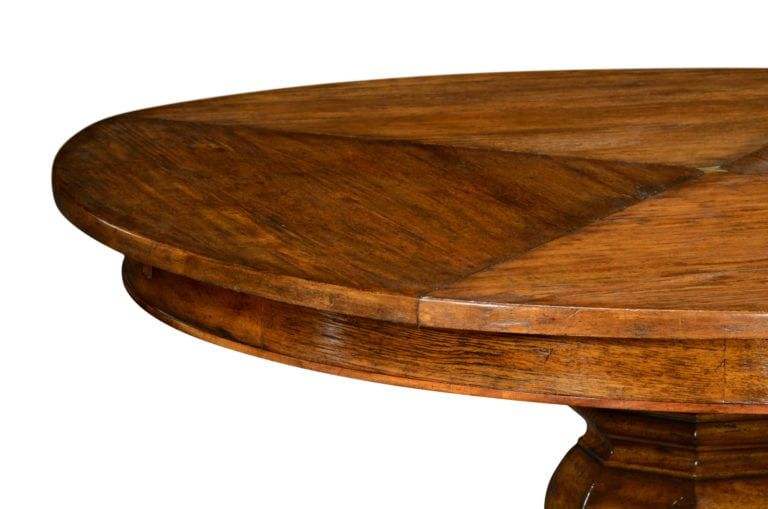 Rustic Solid Walnut Round Jupe Table With Hidden Self Storing