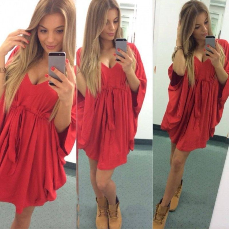 Fashion Knitted Loose Belt Short Dress
