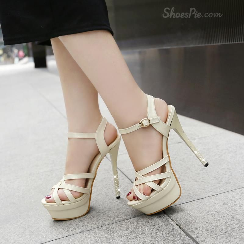 Shoespie Solid Color  Rhinestone-strapped Stiletto Sandals