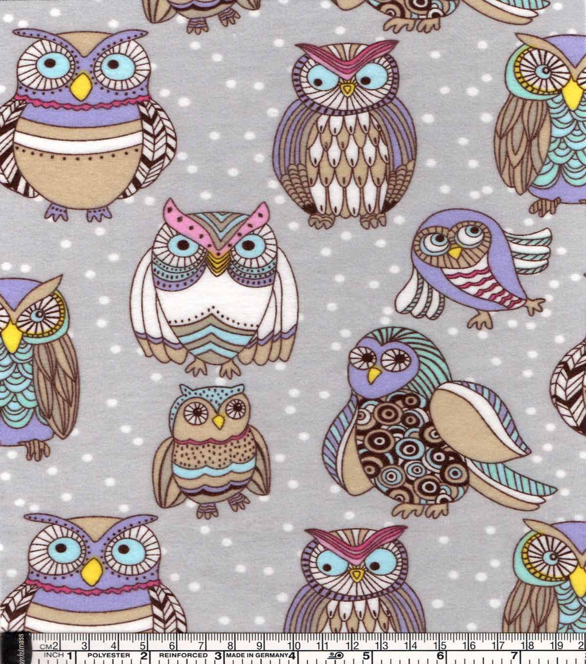 Snuggle flannel fabriccolorful owl friends friends flannels and