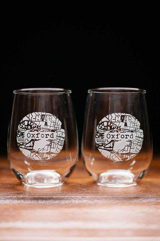 College Town Glassware Wine Glass Set Stemless Wine Glass Wine Glass