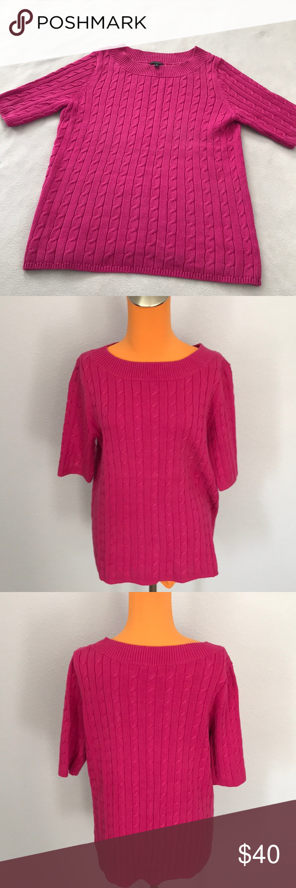 Talbots Hot Pink Short Sleeve Cable Knit Sweater | Hot pink shorts ...