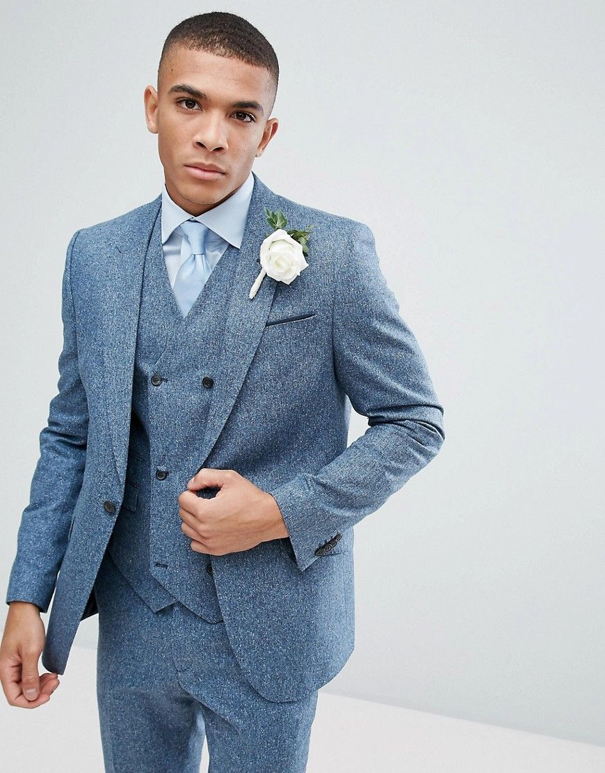 Wedding Slim Suit Jacket In 100% Silk Textured Blue | Products