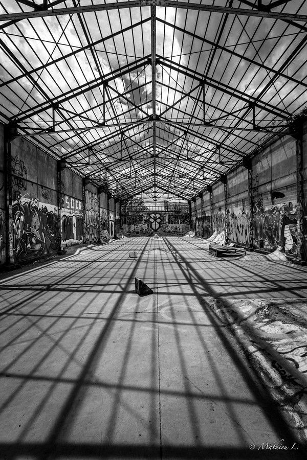 Skate park in disused hangar. by Mathieu L. on 500px