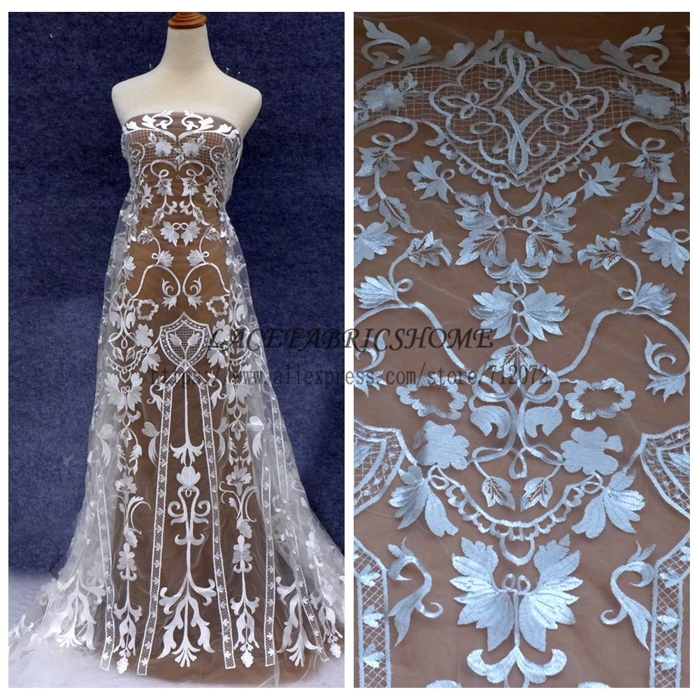 Fshion style off white polyester on netting embroidered wedding