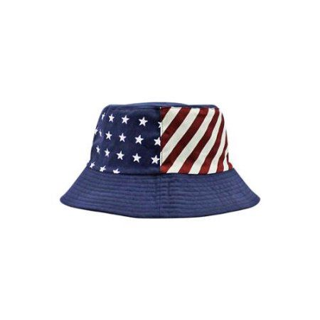 9eb84f839ad Luxury Divas Navy Blue Patriotic Flag Print Reversible Bucket Hat - Walmart .com