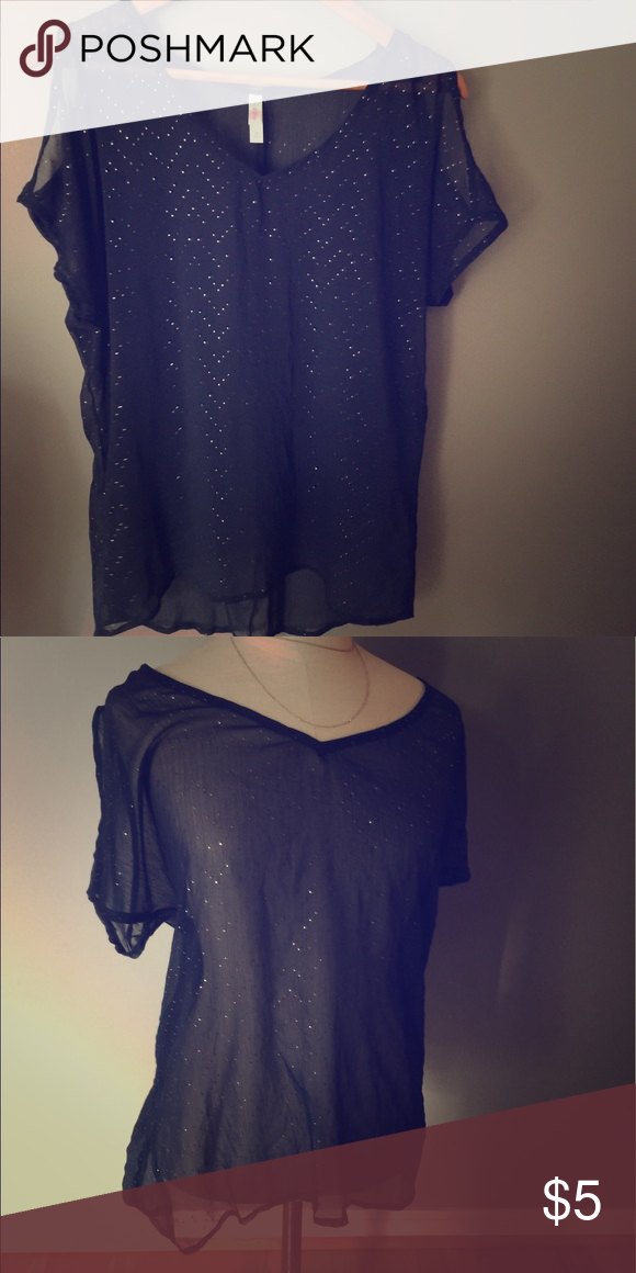 Sheer Navy Top With Gold Dot Chevron Pattern Short sleeve sheer top with cut out shoulders. Color is navy blue with gold metallic dotted chevron pattern throughout. Xhilaration Tops Blouses