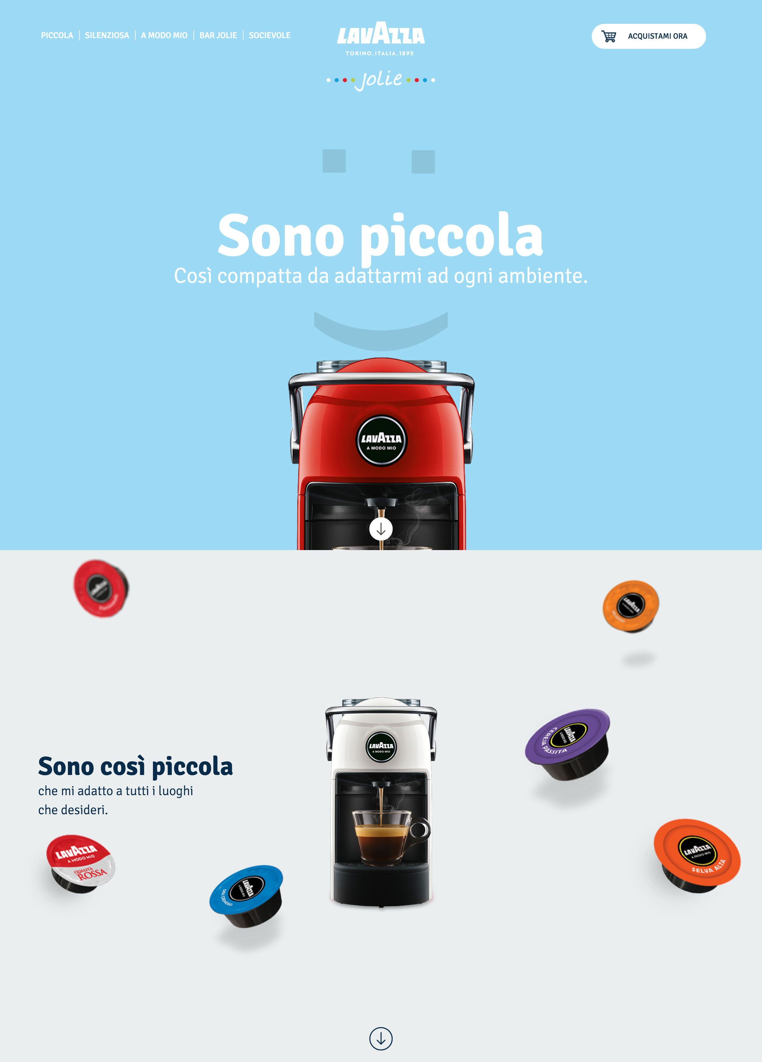Dedicated landing page promoting the new 'Jolie' coffee