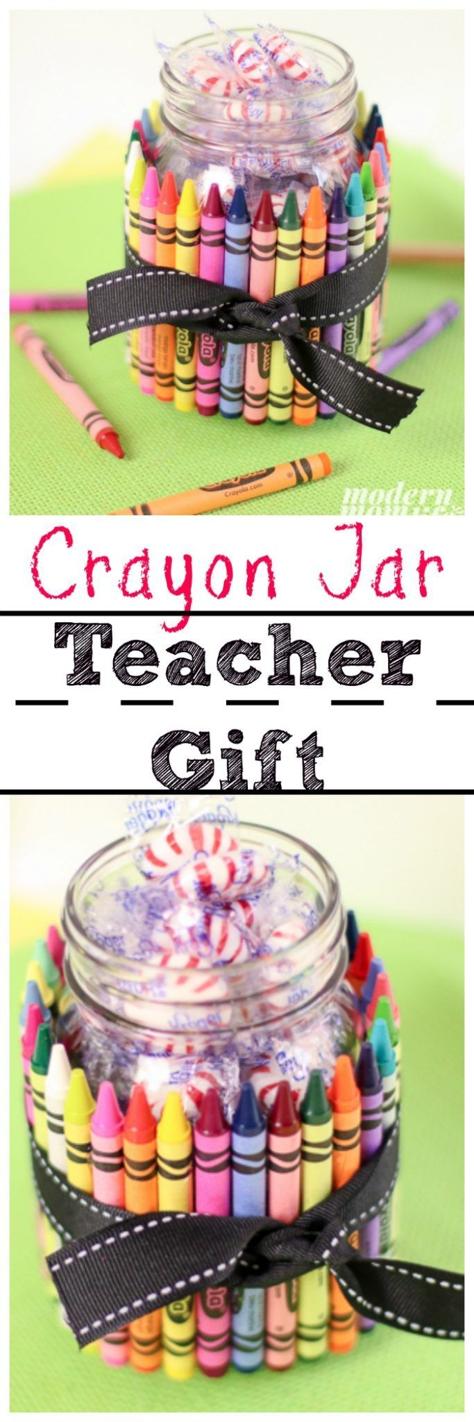 This diy crayon jar teacher gift is one of a kind crafts for gifts
