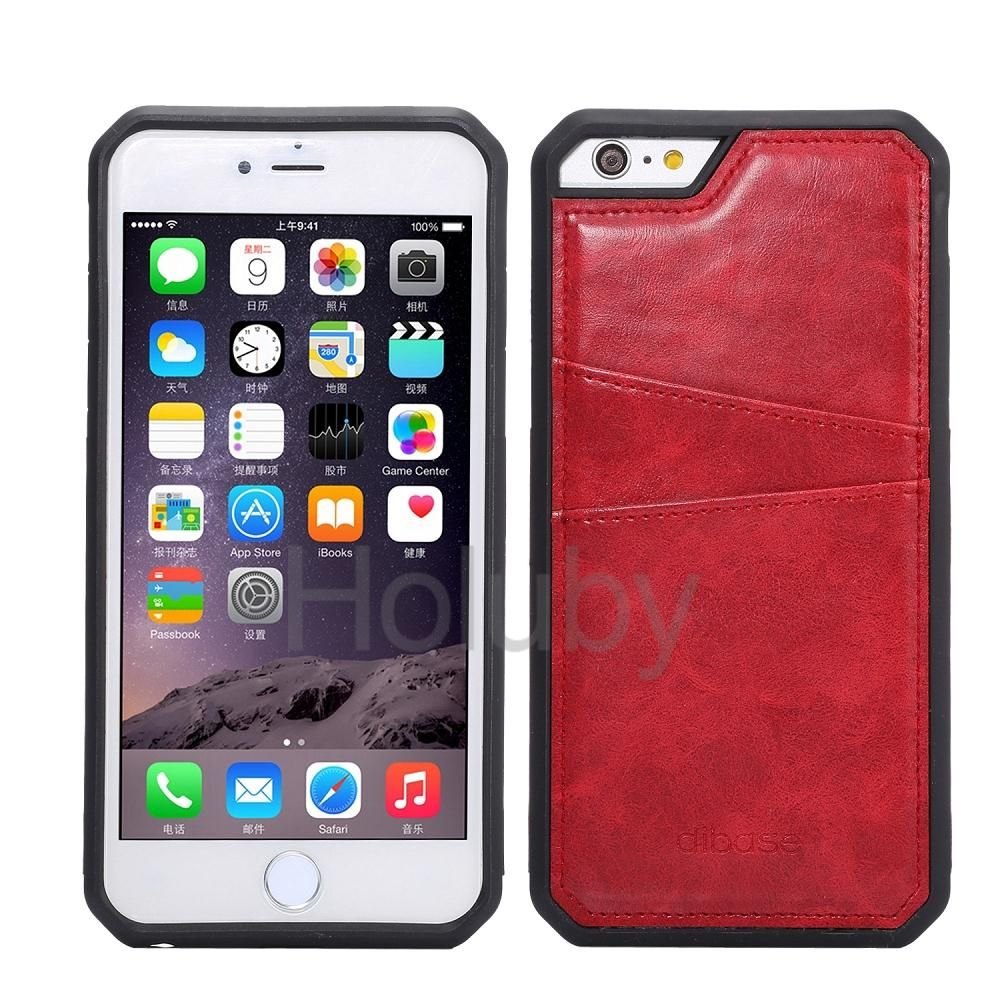 Crazy Horse Card Holder TPU Back Case for iPhone 6 Plus iPhone 6S Plus - Red