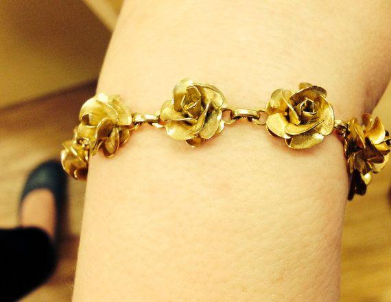 Vintage Goldtone Rose Link Bracelet by Lonestarblondie on Etsy, $10.00