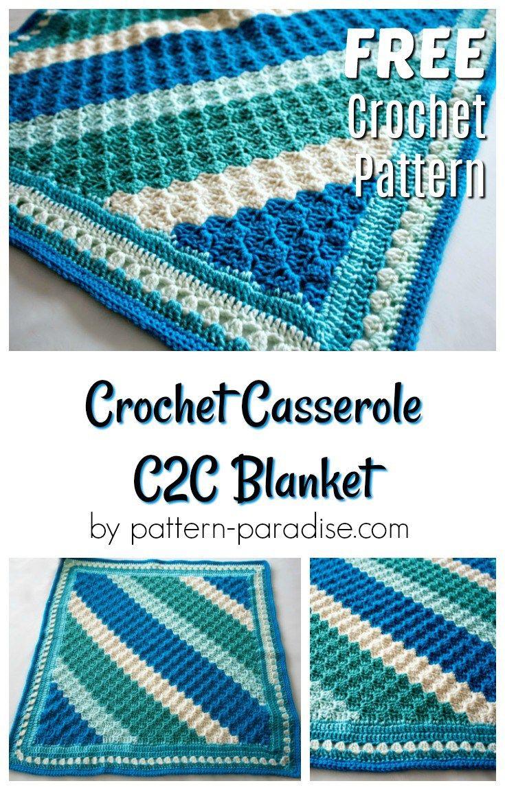 Free Crochet Pattern: Crochet Casserole C2C Blanket | Tejido