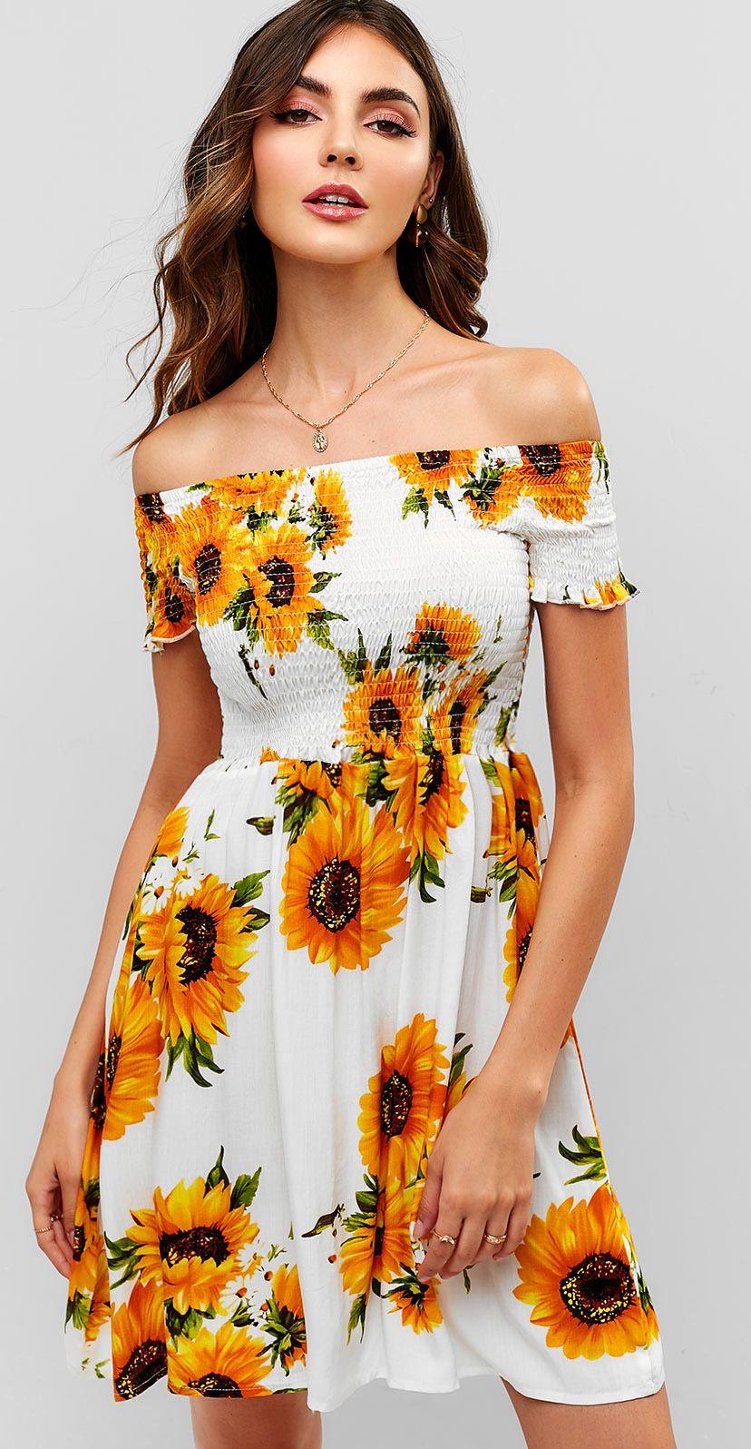 3ba55cedd267 Smocked Sunflower Off Shoulder Dress in 2019 | Fashion | Dresses, Fashion  outfits, Summer dresses