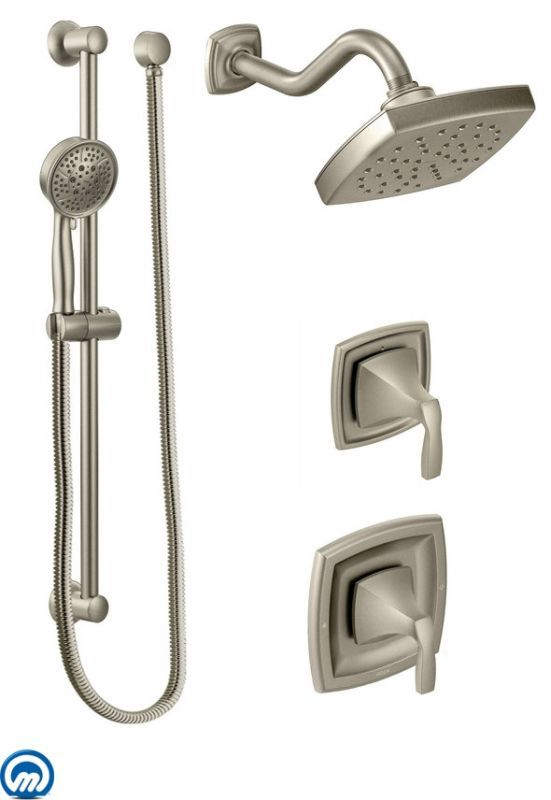 Incroyable Moen 435 Pressure Balanced Shower System With Rain Shower Integrated Volume  Con Brushed Nickel Faucet Shower System Custom Shower