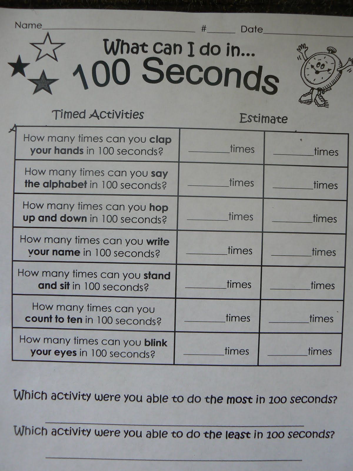 100th day // Tried this one year with 5th graders - I thought they were  going to pass out doing jumping jacks for 100 seconds! L…   100 days of  school [ 1600 x 1200 Pixel ]