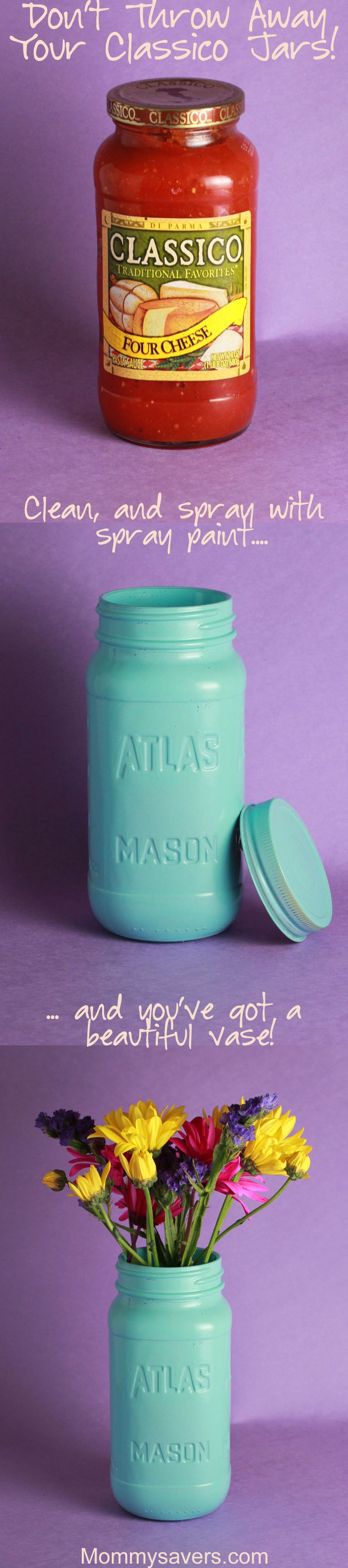 mason jars from sauce jars