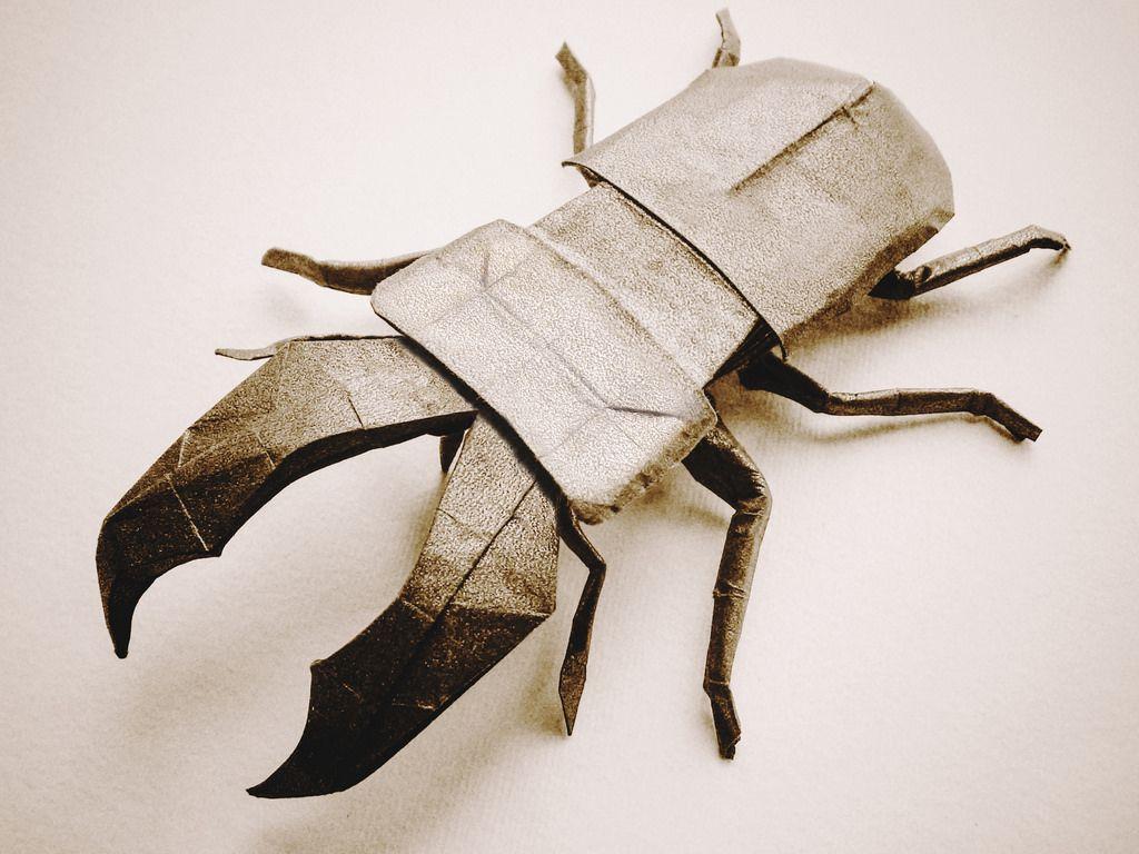 Stag Beetle (Riccardo Foschi) by Riccardo Foschi Origami Paper Art,  Kirigami, Beetle