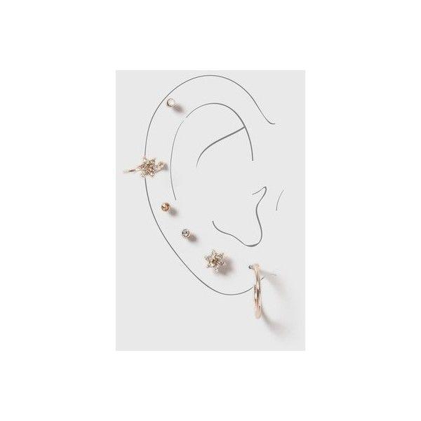Topshop Flower Rhinestone Mixed Earrings Pack (17 BGN) ❤ liked on Polyvore featuring jewelry, earrings, clear, flower earrings, hoop earrings, artificial jewellery, fake jewelry and imitation jewellery