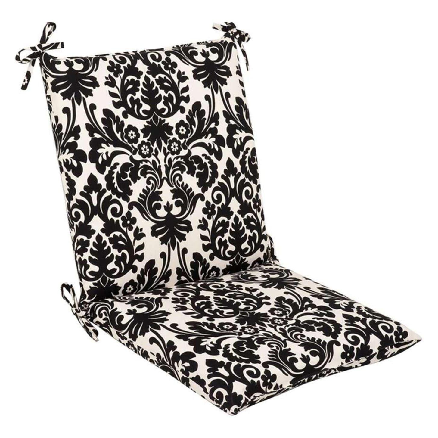 Outdoor Patio Furniture Mid Back Chair Cushion - Dramatic Black & Cream Damask, Outdoor Cushion