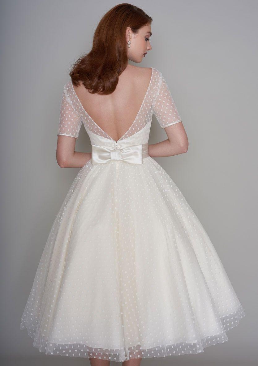 86 Nellie Classic Fifties Style Tea Length Wedding Dress Short Wedding Dress Vintage Bow Wedding Dress Wedding Dresses [ 1183 x 834 Pixel ]