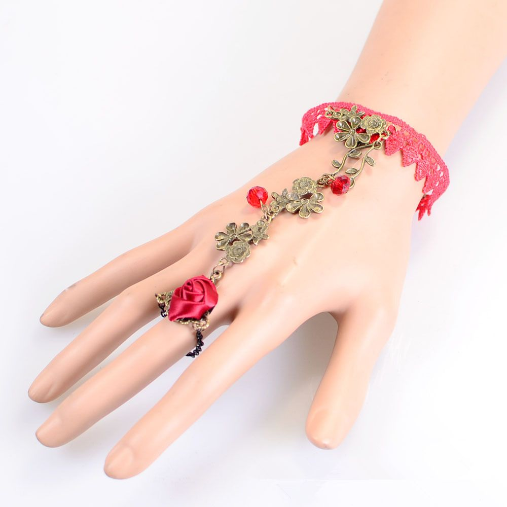 Click to Buy << Fashion Red Flower Pearl Lace Bracelet JW506 ...