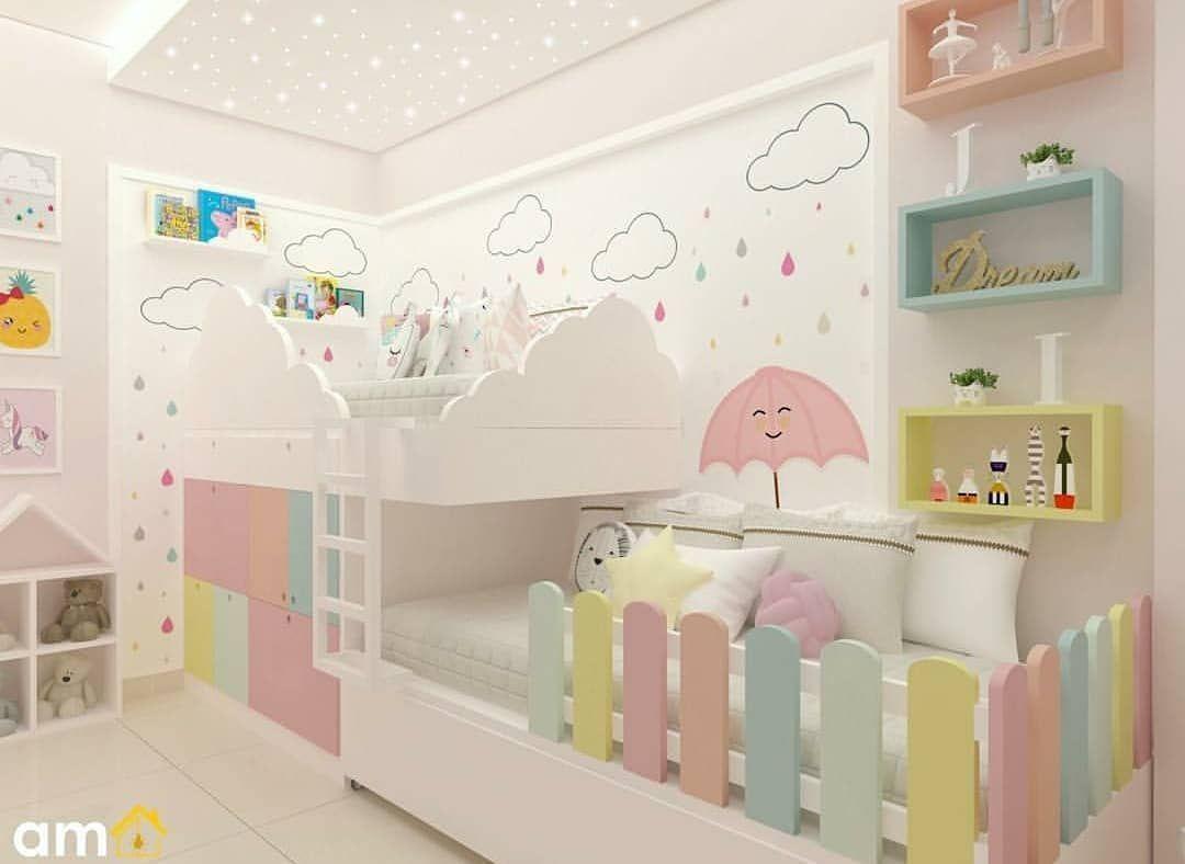 Quarto projetado para duas irmãs, decoração lúdica  e linda com aproveitamento total do espaço, destaque para o céu estrelado e chuva  com… is part of Kids bedroom furniture -