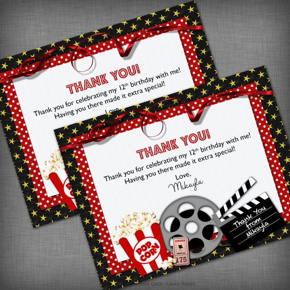 704 Personalised Cinema Stickers Birthday Party Thank You Movie Cake Sweet