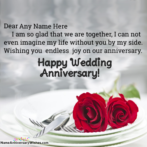 Wedding Day Images With Name: Red Rose For You On Marriage Anniversary With Name