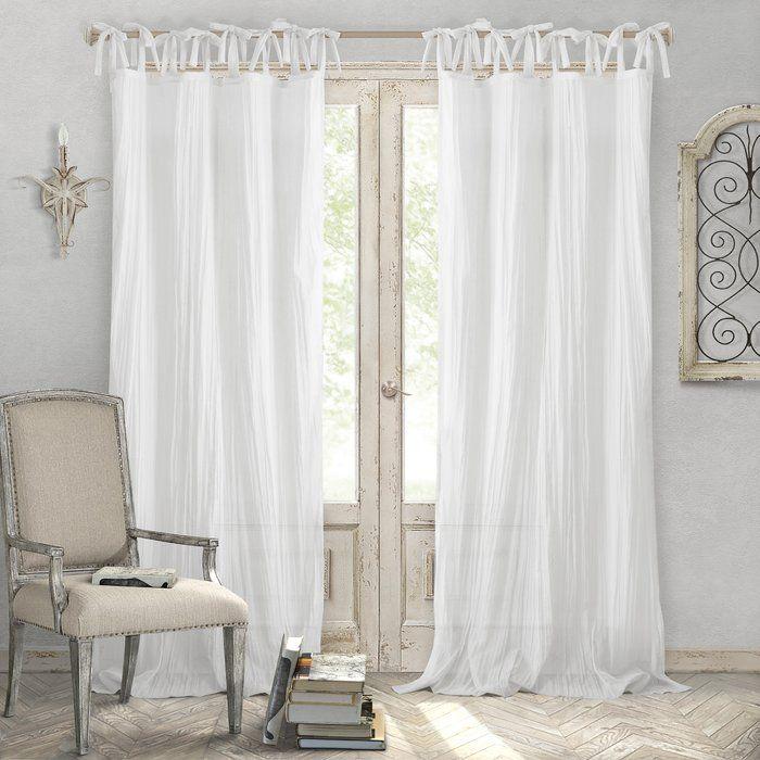 Hippolyte Solid Semi-Sheer Tab Top Single Curtain Panel #beachcottageideas