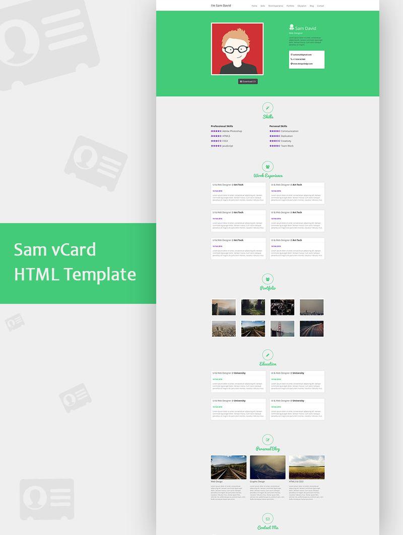 Sam vcard html template psd template pinterest template and sam vcard html template psd template pinterest template and psd templates maxwellsz