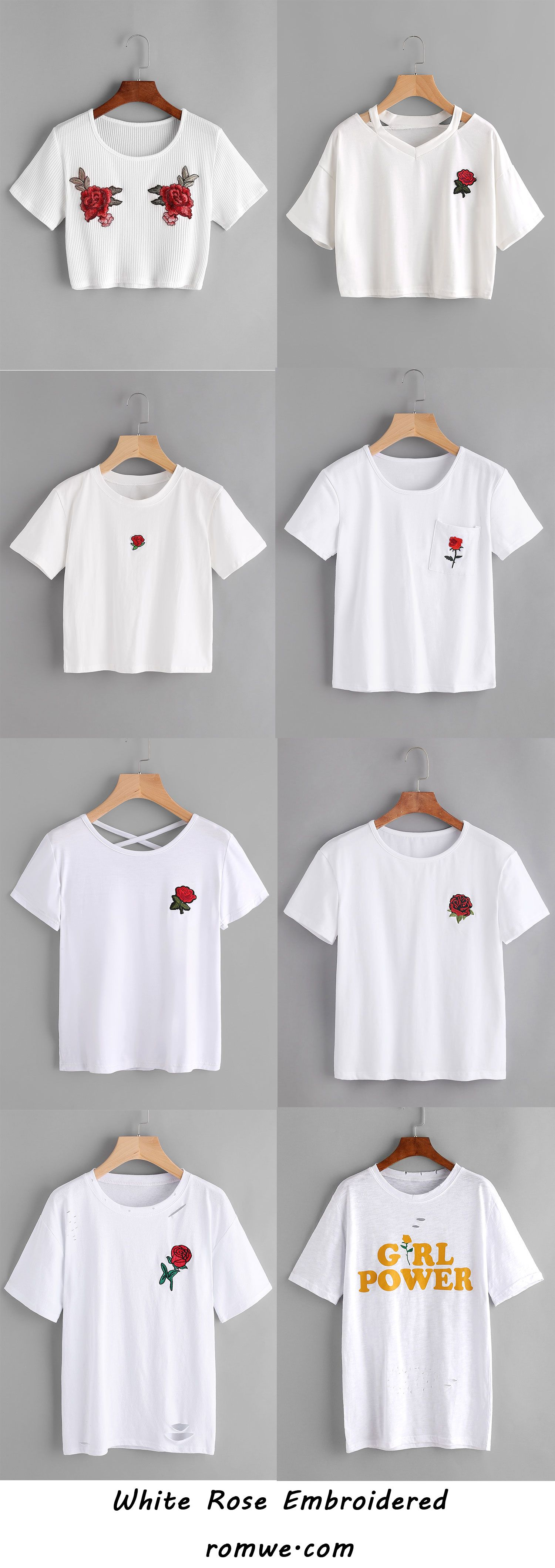 White Rose Embroidered Tops from romwe.com