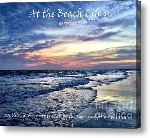 SALES ENDS TODAY 6/7/15 at 5:00 Limited Time Promotion: At The Beach Life Is Different - Quote Stretched Canvas Print