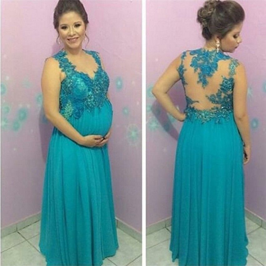 Click to Buy << Elegant Plus Size Evening Dress For Pregnant Women ...