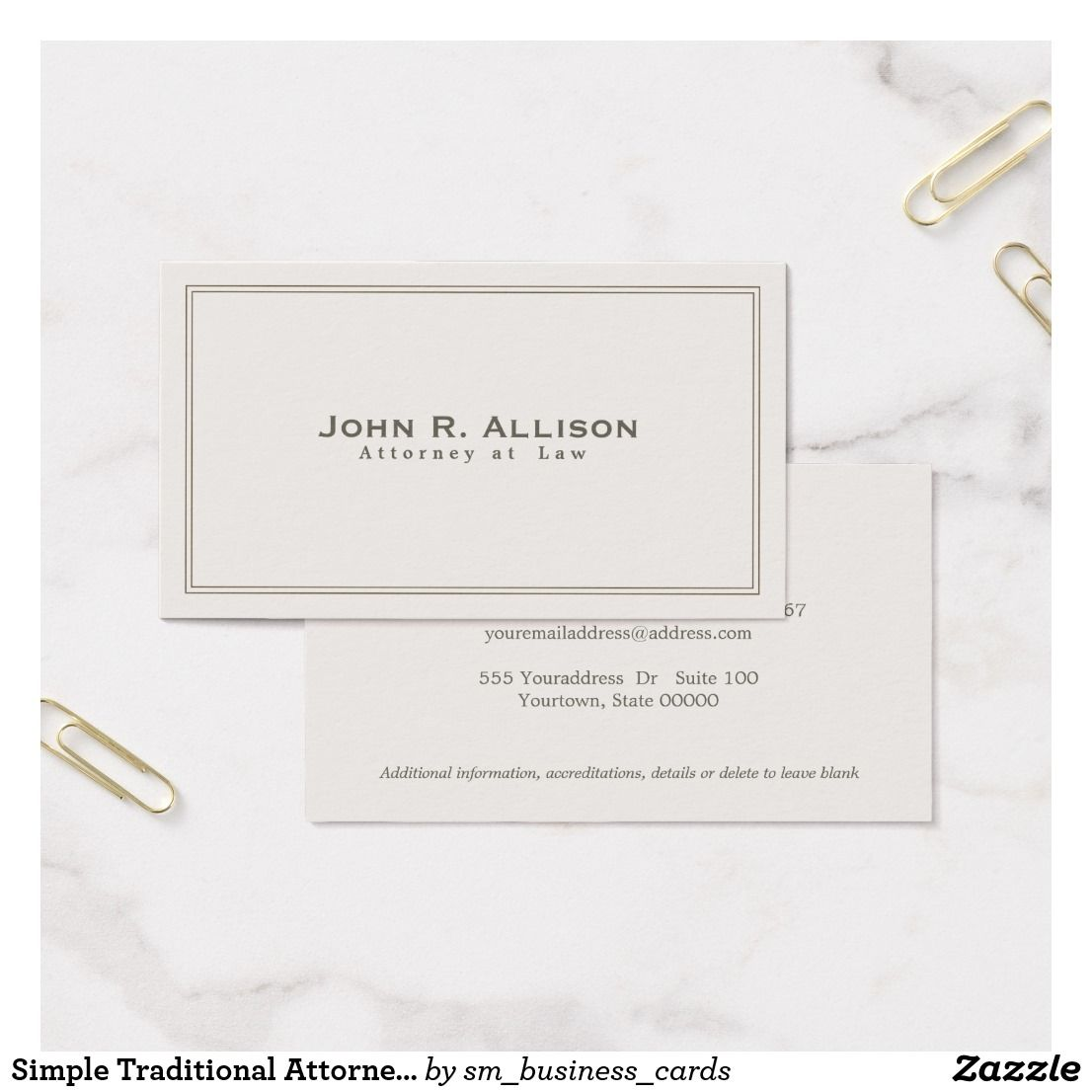 Simple Traditional Attorney Ivory Professional Business Card ...