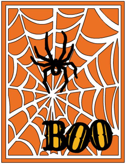 Cricut Sketch Thursday: Boo Halloween card using the CTMH Artbooking Cartridge.