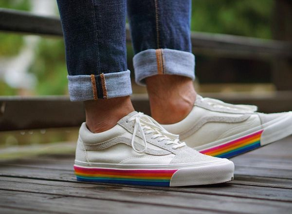 Trendy Sneakers 2017  2018   Vans Old Skool x Slam Jam Marshmallow Rainbow 09aad82768