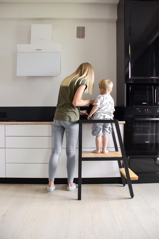 Wooden Helper Tower Toddler Kitchen Step Stool Learning Etsy Step Stool Kids Toddler Kitchen Kitchen Step Stool